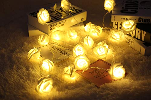 Zhuohao 20LED Rose Flower String Light Battery Operated with Remote Control (Timer, dimmer and 8 Flashing Modes) for Wedding, Valentines Day, Indoor, Party, Christmas Decoration - Warm White