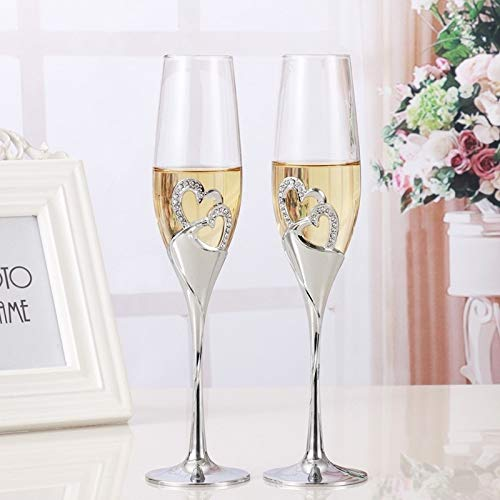 LZSUS 2 PCS Crystal Wedding Toasting Champagne Flutes Glasses Drink Cup Party Marriage Wine Decoration Cups by LZSUS
