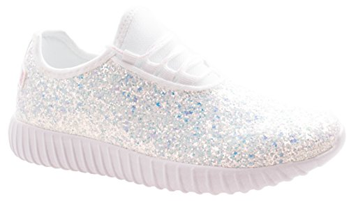 caa4cdca5d81 Asushoes Womens Forever Link Remy-18 White Lace up Glitter Fashion Sneaker  w Elastic Tongue   White Outsole 8.5 D(M) US - Buy Online in Oman.