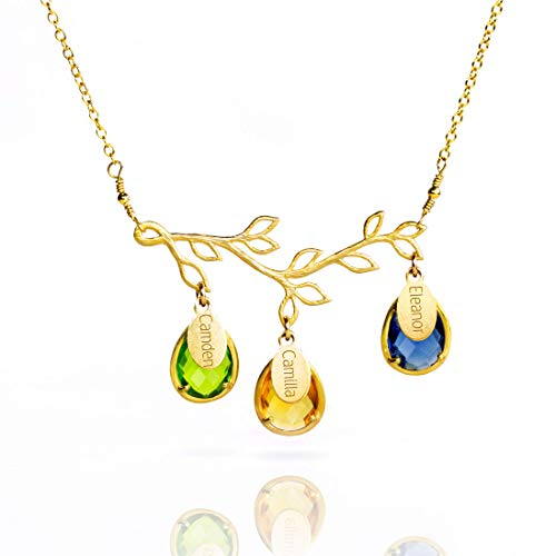 - Birthstone Necklace with Children's Names, Half Bezel Prong Birthstone Gold Single Branch Necklace with Oval Name Tags