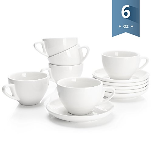 Sweese 4306 Porcelain Cappuccino Cups with Saucers - 6 Ounce for Specialty Coffee Drinks, Latte, Cafe Mocha and Tea - Set of 6, White (Ceramic Contemporary Floral)
