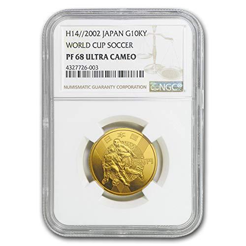 (2002 JP H14 Japan Gold 10,000 Yen World Cup Soccer PF-68 NGC Gold PF-68 NGC)