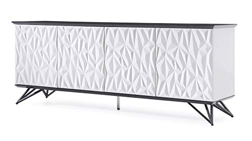 Black Lacquer Buffet - Zuri Furniture Modern Vortice Sideboard in Black and White High Gloss Lacquer with Matte Black Legs