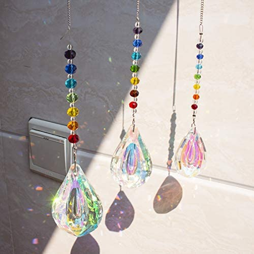 Glass Hanging Suncatchers Beads Chakra Crystal Prism Pendants for Wedding Home Decor Gifts BUBABOX Crystals Sun Catcher Pack of 6