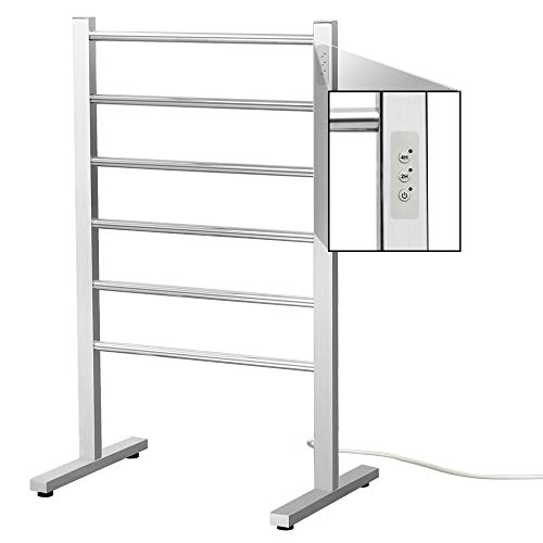 SHARNDY 6-Bars Portable Electric Towel Warmer with Built-in Timer Freestanding Drying Rack for Home Bathroom Stainless Steel Brush Finish (Towel Heated Rack Freestanding)