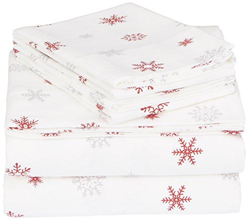 Pinzon Cotton Flannel Bed Sheet Set - Queen, Falling Snowflake Merlot - Made in Portugal; Queen set includes flat sheet, fitted sheet, and 2 standard pillowcases Velvet flannel provides luxurious softness in a breathable weave Double-napped finish on both sides has an ultra velvety feel; 170 gram flannel weight - sheet-sets, bedroom-sheets-comforters, bedroom - 419ZvTTSpYL -