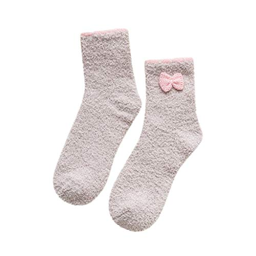 URIBAKE Womens Plus Size Socks Super Ultra Soft Warm Cozy Bow Fuzzy Fleece-lined With Grips Slipper ()