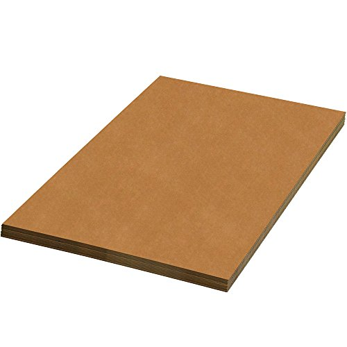 BOX USA BSP1616SK Corrugated Sheets, 16'' W x 16'' L, Kraft (Pack of 1500) by BOX USA