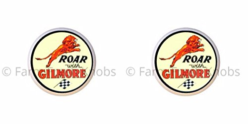 SET OF 2 KNOBS - Roar With Gilmore - Vintage Gas Station Signs - DECORATIVE Glossy CERAMIC Cupboard Cabinet PULLS Dresser Drawer KNOBS (Sign Cabinet)