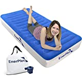 EnerPlex Never-Leak Camping Series Twin Camping Airbed with High Speed Pump Luxury Twin Size Air Mattress Single High Inflatable Blow Up Bed for Home Camping Travel 2-Year Warranty – Blue/White