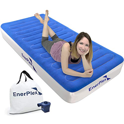 EnerPlex Never-Leak Camping Series Twin Camping Airbed with High Speed Pump Luxury Twin Size Air Mattress Single High Inflatable Blow Up Bed for Home Camping Travel 2-Year Warranty - Blue/White