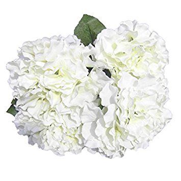 Silk Hydrangea White 5 Heads SOLEDI Artificial Flower Arrangements Bunch Bridal Bouquet Wedding Party Garden Home Decor