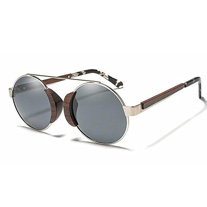 Per Montature Spiaggia Con Occhiali Protezione Classici Unisex Metallo Rotondi Legno La Vintage Degli Donna Da In Sole Polarizzato