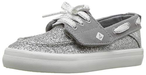 SPERRY Girls' Crest Resort JR Sneaker Silver Glitter 6.5 Medium US Toddler (Glitter Toddler Girl Shoes)