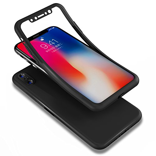 PHEZEN iPhone X Case,iPhone 10 Case, Shockproof 360 Full Body Protection Slim Fit Front and Back Matte TPU Silicone Case with Tempered Glass Screen Protector for iPhone X, Black