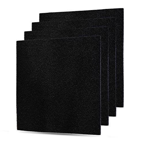 Flintar MD1-0023 Premium Activated Carbon Charcoal Replacement Filters for Vornado Air Cleaner Purifier Model AC300, AC350, AC500, and AC550, Captures Odors from Pets, Smoke, and Cooking, 4-Pack (Activated Charcoal Filter Sheets)