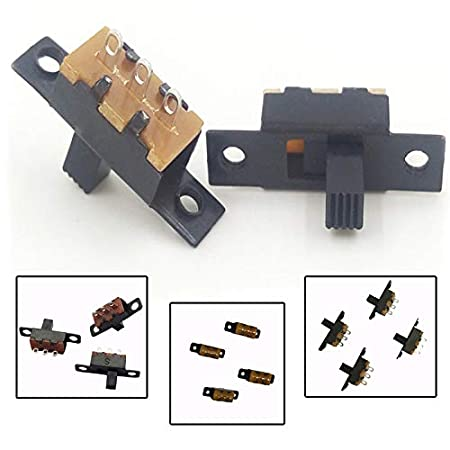 Color: Black 50PC DC50V 30mA Mini Size Slide Switch High Knob 3 Pin 2 Position Vertical Slide Switch Panel Mount Slide Switch 0.3-0.5 Amp