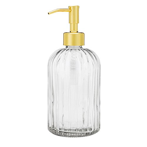 Rail19 Fluted Glass Nouveau Soap Dispenser with Metal Soap Pump for The Kitchen and Bathroom Great for Lotions and Liquid Hand Soaps (Gold)