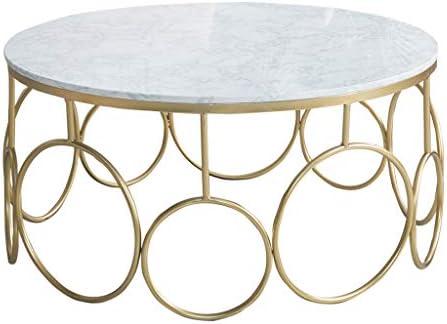 Winkelen Voor ZRXian koffietafel woonkamertafel 31,5 inch licht faux marmer ronde salontafel gouden smeedijzers sofa opbergtafel eenvoudige kleine woning retro korte bijzettafel (80x45 cm)  ITVpvL4