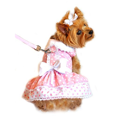 (Pink Polka Dot and Lace Dog Harness Dress Set (Medium))