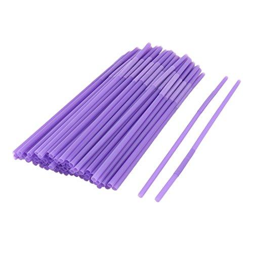 uxcell® Plastic Cafe Drinking Coffee Milk Tea Water Disposable Straws 100pcs Purple