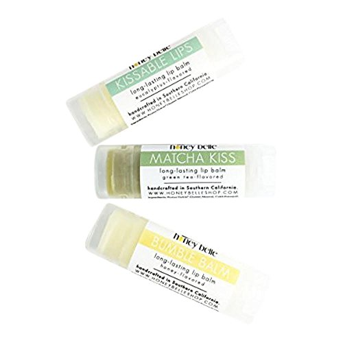 All Natural & Organic Variety Pack, Kissable Lips, Matcha Kiss, Bumble Balm, Lip Balm - For All Sensitive And Dry Lips - By Honey Belle ()