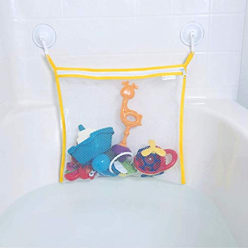 Bathtub Toy Organizer with a Zipper + 2 Premium Suction Cup Hooks. Quick Dry Netting That is Perfect for Daily Use. Sticks to Bathtubs, Windows, Mirrors & More! (Yellow)