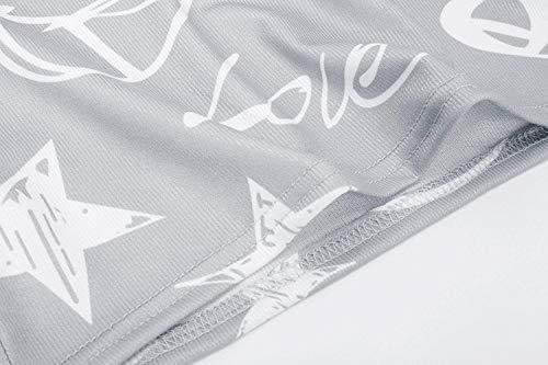 Glamorous di Fit Vintage Elegante Modello Casuale Slim Grau Semplice Lunga Manica Cuore Blusa Collo Donna Tops Stile Shirt Fashion Stampato Magliette Modern Camicetta Accogliente Rotondo qnHwCECO