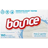Bounce Fabric Softener Dryer Sheets, Free & Gentle, 160 Count - 2 Pack
