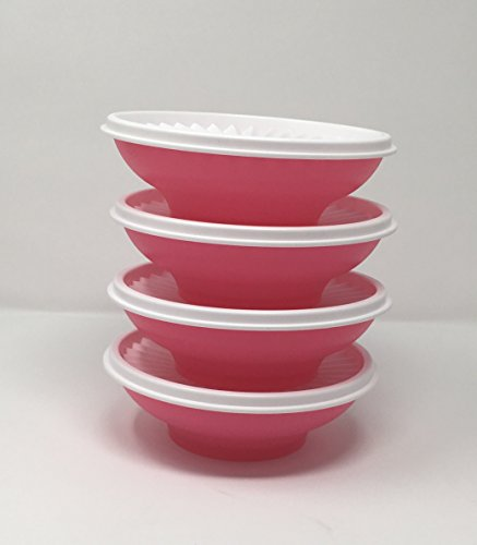 Tupperware Servalier Salad Set 4 Pc Bowls Punch Pink with White - Bowl Punch Pink