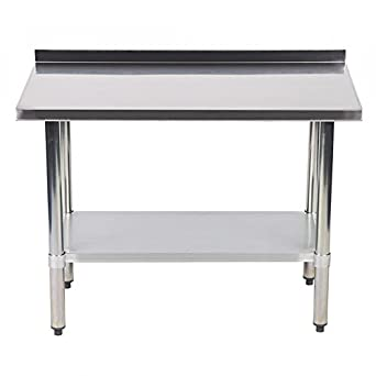24 X 48 Inch Stainless Steel Work Table With Backsplash Kitchen Restaurant  Table