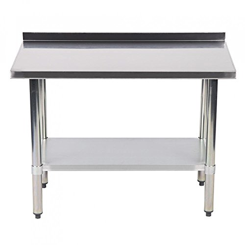 Cafeteria Table (24 X 48 Inch Stainless Steel Work table with Backsplash Kitchen Restaurant table)