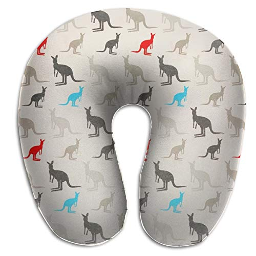 FANTASY SPACE Australia Kangaroos Travel Pillows Neck Compact Neck Pillow Premium Polyester Sleeping Rest Cushion for Office Home Car, Machine Washable Breathable & Comfortable