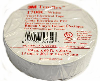 3M 1700C-WHITE-3/4''X66FT TAPE, WHITE, 0.75INCH, 66FT (10 pieces)