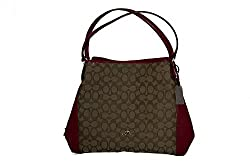 COACH Edie Shoulder Bag 31 Signature Jacquard F36466 Khaki / True Red