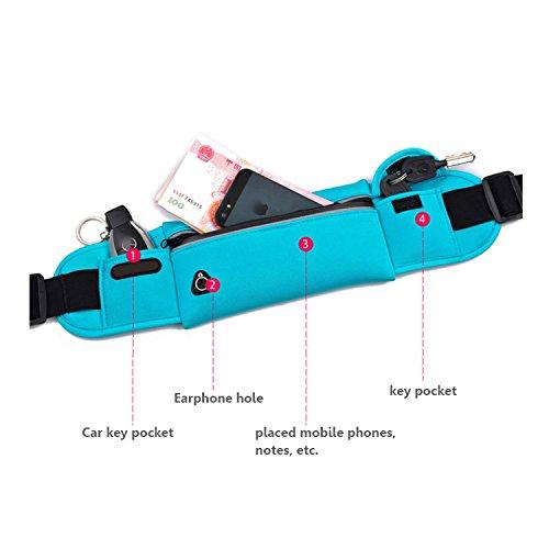 Waterproof Waist Bag Running Light Weight Belt Zipper Pockets Waterproof Waist Bag Waist Pack for Running Hiking Cycling Climbing. And for iPhone, iPod, Samsung and Other Smartphones Blue