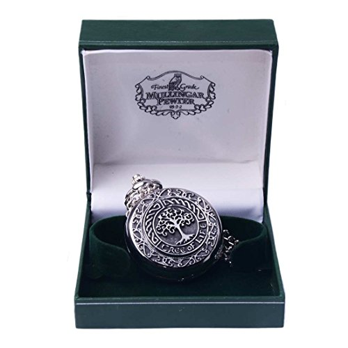 - Mullingar Pewter Pocket Watch with Tree of Life Design and Celtic Border
