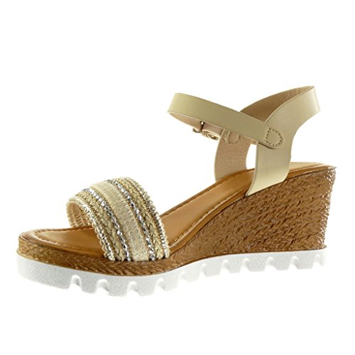 Angkorly Women's Fashion Shoes Sandals Mules - Platform - Sneaker Sole - Thong - Braided - Rhinestone Wedge Platform 7 cm Beige 30aYIVD