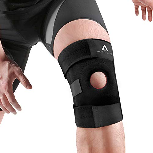 Anoopsyche Knee Brace Support Adjustable Non-Slip Breathable Patella Stabilizer Compression Sleeve Pain Relief for Men and Women Arthritis, Mountaineering, Running, Jumping, Black