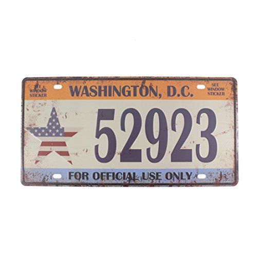 (6x12 Inches Vintage Feel Rustic Home,bathroom and Bar Wall Decor Car Vehicle License Plate Souvenir Metal Tin Sign Plaque (Washington,D.C.))