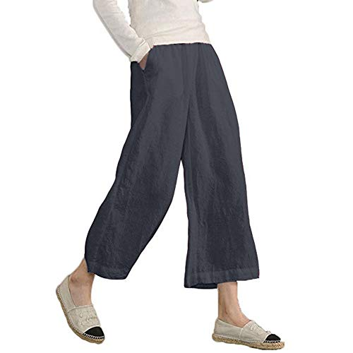 Gillberry Women's Plus Size Pants Elastic Waist Causal Loose Trousers Cropped Wide Leg Pants Gray ()
