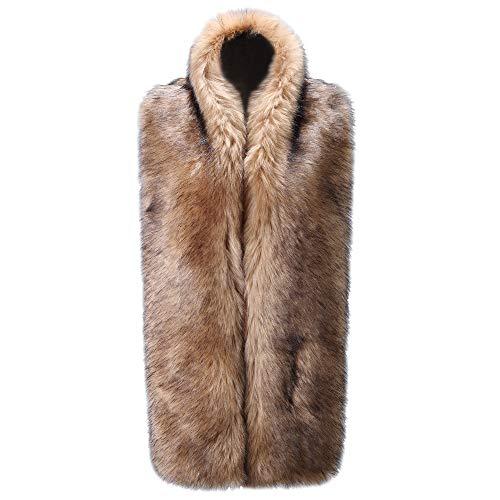 Caracilia Women Long Winter Fashion Faux Fox Fur Collar Scarf Khaki Black 180CA97