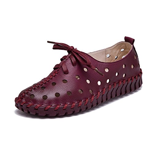 - York Zhu Fashion Sneakers for Women, Hollow out Lace up Round Toe Flats Shoes