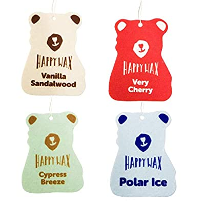 Happy Wax Car Cub Air Freshener - Assorted Pack of 4 Air Fresheners - 1 Each of Very Cherry, Polar Ice, Cypress Breeze and Vanilla Sandalwood (Classic, 4 Pack): Automotive