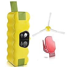 Morpilot 2041001 Replacement Battery 14.4V 3800mAh Ni-MH w/ 2Pcs Brushes for iRobot Roomba 14.4V APS 500, 600, 700 & R3 80501 4419696 Pet Series , Yellow -1 - Pack