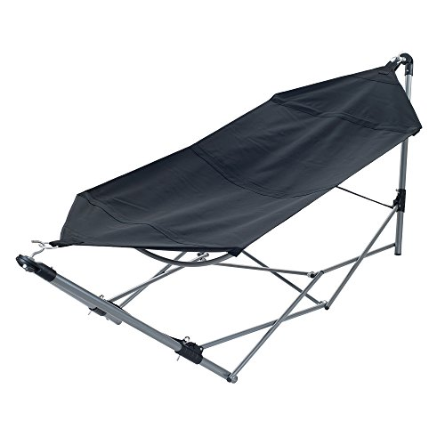 (Pure Garden Portable Hammock with Stand-Folds and Fits into Included Carry Bag for Easy Travel-Perfect for Backyard, Pool, Beach, Hiking Black)