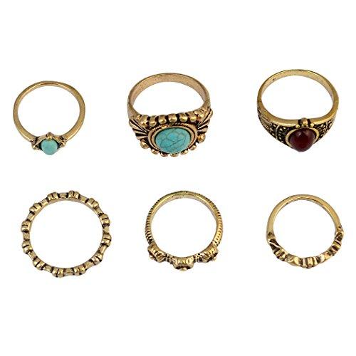 6pcs/set moda Vintage Rhinestone turquesa perlas de resina de nudillos de Midi anillo de uñas joyería
