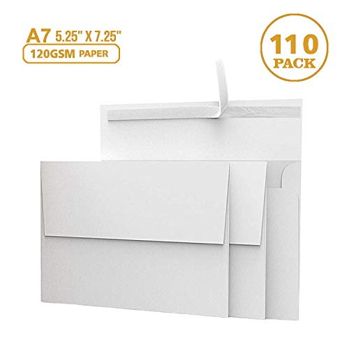 110 5x7 White Invitation Envelopes - for 5x7 Cards - A7 - (5 ¼ x 7 ¼ inches) - Perfect for Weddings, Graduation, Baby Shower - 120 GSM - Peel, Press & Self Seal - Square Flap (7 1/2 500 Envelopes)