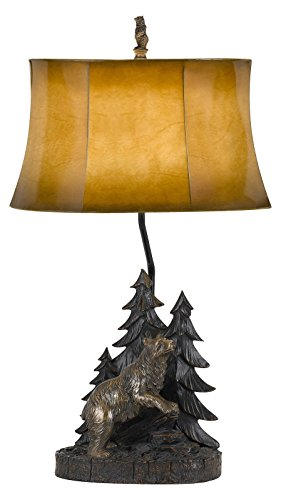 150W 3 Way Forest Resin Table Lamp with Leatherette Shade