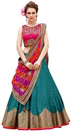 62dea4fdb2 Image Unavailable. Image not available for. Colour: Hari Enterprise Women's  Banglory Silk Semi-Stitched Lehenga ...